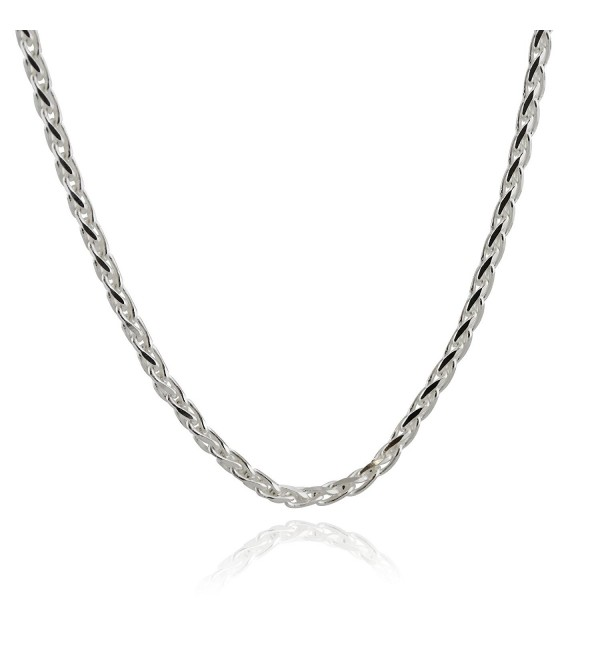 Sterling Silver 3mm Spiga Wheat Chain Necklace - 16- 18- 20- 24- 30 Inches - C017YQU2W3Z