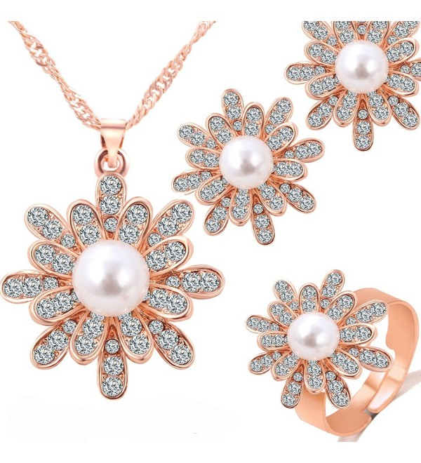 Womens Korean Pearl Rhinestone Flower Earring Ring Pendant Necklace Jewelry Set NK1153 - Rose Gold - C612NR5E45U