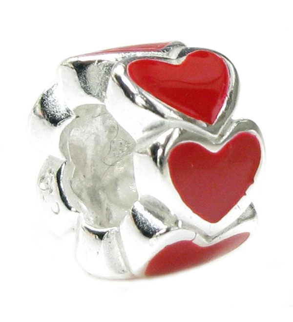 Sterling Silver Endless Love Red Heart European Style Bead Charm - CP1161A64YZ