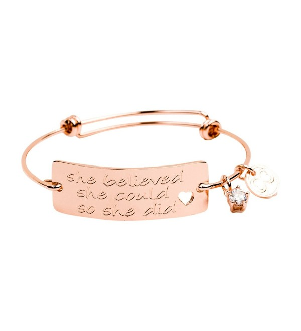 Expandable Bracelet Believed Inspirational Perfect - 18k Rose Gold Plated - CD12N0D4K2J
