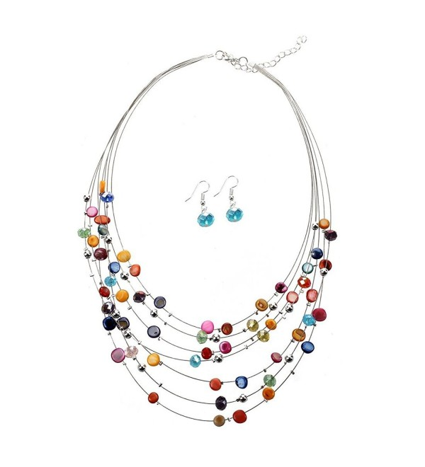 "TOOGOO(R) Gorgeous Beaded Multi Strand Necklace and Drop/Dangle Earring Set-Multicolor - ""		 	 Multicolor	 	"" - CE11ZPLZ17D"