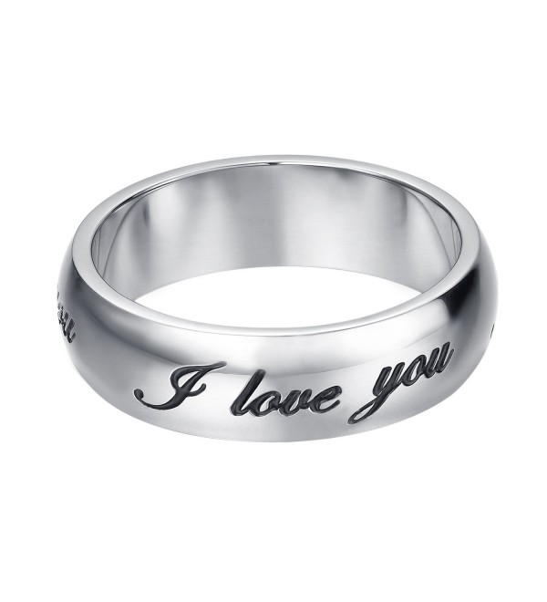 "JoGray Women's Stainless Steel ""I Love You"" Ring 6MM Love Bands Ring US 6-9 - silver plated 6mm - C6185ID7HZ0"