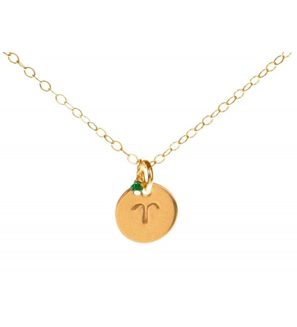 Aries Necklace - Tiny Gold Filled Simple Aries Necklace with Birth Month Charm- Zodiac Necklaces - CT11EFPI11N