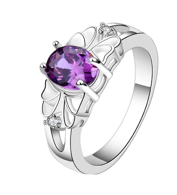 Susenstone Delicate Purple Zircon Ring - C7127J6N2Q3