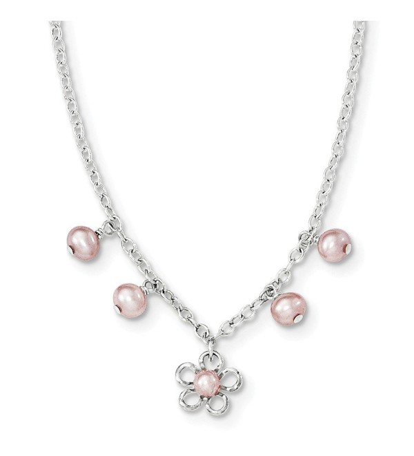 Sterling Silver Pink Freshwater Cultured Pearl Cable Chain Necklace W/Flower/1 IN 14 Inches Long - CQ12HG94NNJ