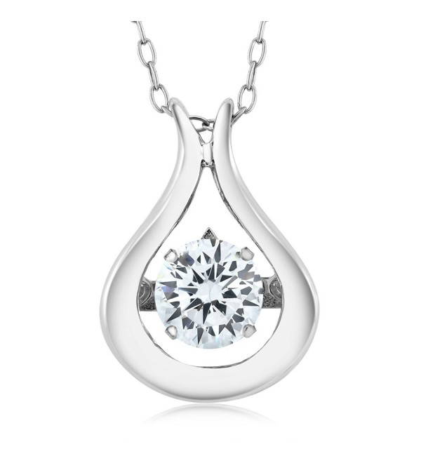 "925 Sterling Silver Solitaire Pendant With 18"" Chain Made With White Swarovski Zirconia & Crossfor Compenent - C912NETC9IU"
