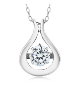 """925 Sterling Silver Solitaire Pendant With 18"""" Chain Made With White Swarovski Zirconia & Crossfor Compenent - C912NETC9IU"""