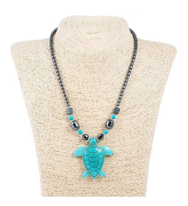 Turquoise Sea Turtle Pendant on Hematite Necklace - C212D5NTBPP