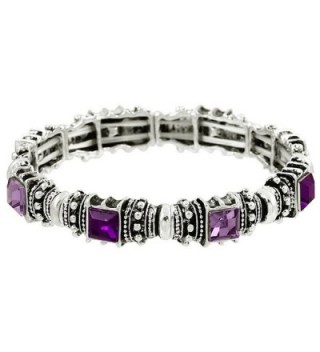 Falari Vintage Acrylic Crystal Antique Silver Stretch Bracelet - Amethyst & Light Purple - CA12BCIJWMH