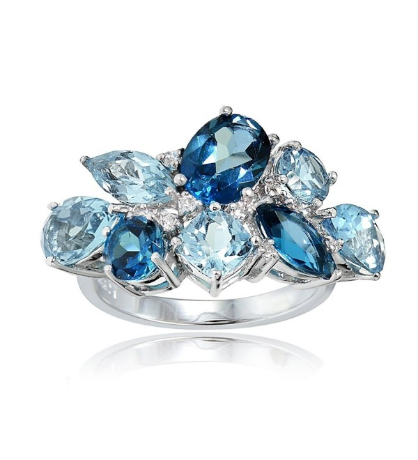 Sterling Silver Genuine London Blue- Blue Topaz- and White Topaz Cluster Tonal Ring - C817WXRDLIO