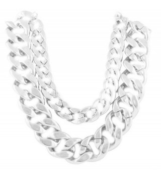 Ladies Silvertone 21 Inch Adjustable Thick Double Cuban Link Chain Necklace (P-347) - CW11EH8YA99