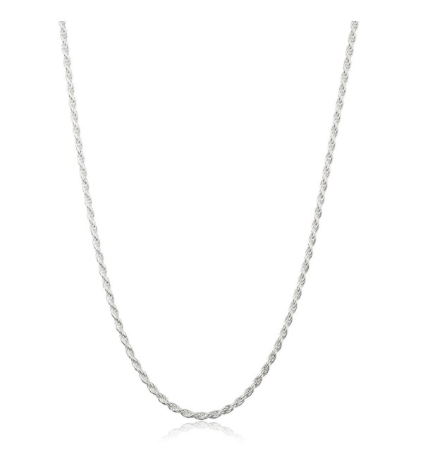 "925 Sterling Silver Diamond-Cut Twister Rope Chain Necklace- 2mm- 18""- with Jewelry Box - CQ1293X661D"