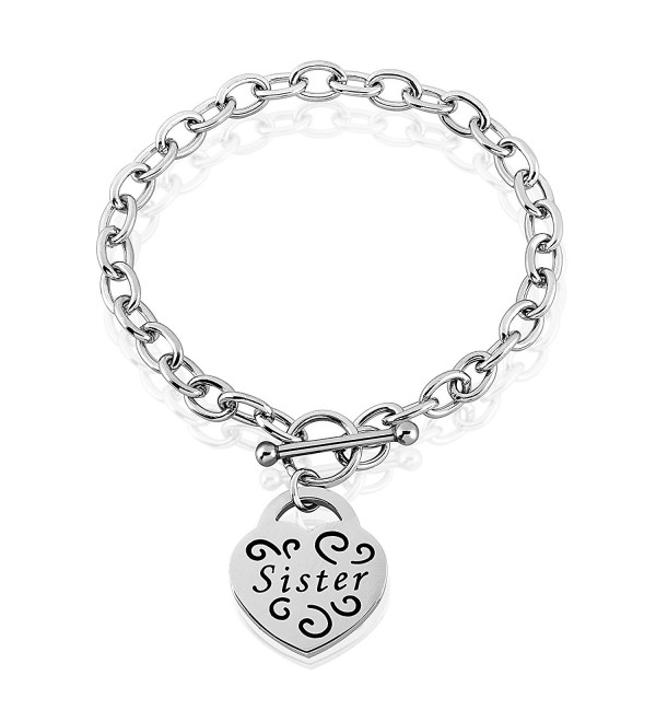 "Stainless Steel Engraved Heart Charm Bracelet - 7.5"" - CJ12FHWOKZX"