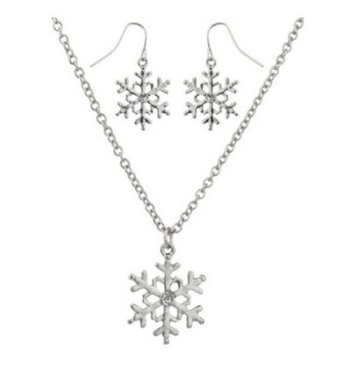 Lux Accessories Crystal Snowflake Christmas Winter Xmas Necklace Matching Earrings. - C5129JUI6DV