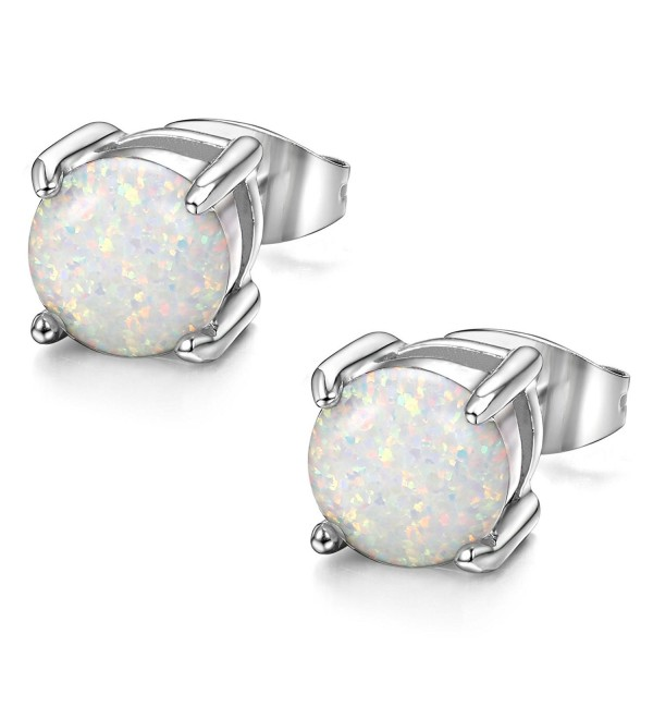 ORAZIO Stainless Steel Women Round Created-Opal Stud Earrings for Men Ear Piercing 7MM - A:White - CK182EGRYQX