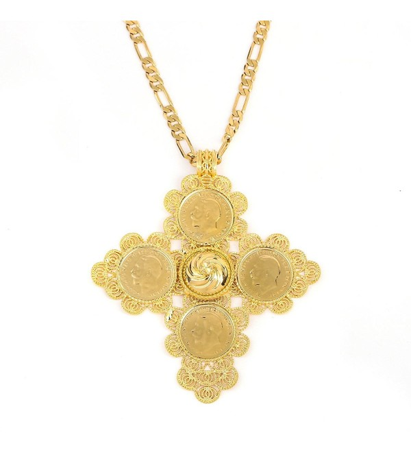 Big Size Ethiopian Cross Coin Stone Pendant For Unisex 18K Real Gold Plated Fashion Jewelry African - C312NSAXU84