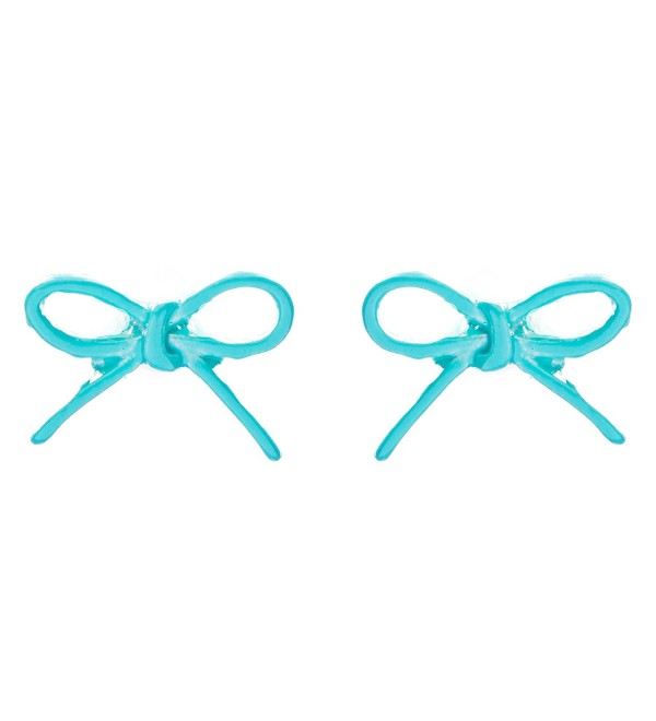 ACCESSORIESFOREVER Women Adorable Cute Ribbon Bow Design Enamel Mini Fashion Stud Earrings Turquoise Blue - CM11IY4ZS4T