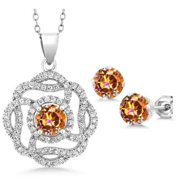 5.06 Ct Round Ecstasy Mystic Topaz 925 Sterling Silver Pendant Earrings Set - C31882T4OXC