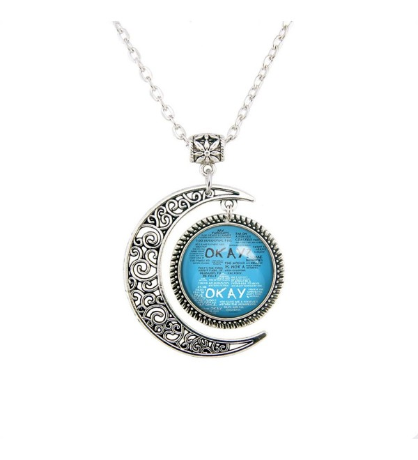 Moon pendant The Fault in Our Stars jewelry John Green necklace OKAY jewelry Light Blue pendants Gifts - CY12MWXCX86