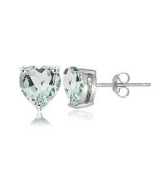 Sterling Silver Genuine- Created or Simulated Birthstone Gemstone 6mm Heart Stud Earrings - March-Aquamarine - CC17AYYA54W