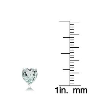 Sterling Silver Aquamarine Heart Earrings in Women's Stud Earrings