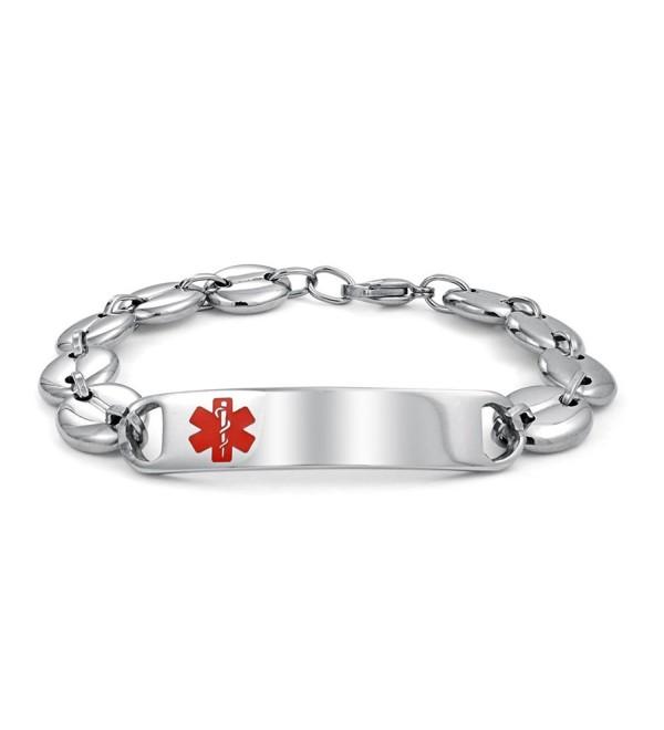 Bling Jewelry Mariner Chain Medical Alert Red Enamel ID Tag Bracelet Steel - CT11PRJJAXD