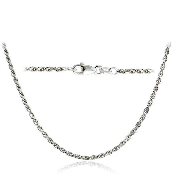 6cc99e7c59f Bria Lou 925 Sterling Silver 2mm Italian Rope Chain Necklace in Lengths 16-  18-