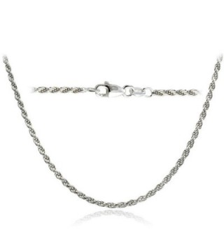 Bria Lou 925 Sterling Silver 2mm Italian Rope Chain Necklace in Lengths 16- 18- 20- 24- 30 Inches - C712DUOS9CP