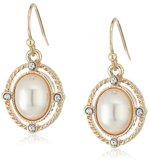 1928 Jewelry Gold-Tone Simulated Pearl and Crystal Accent Oval Drop Earrings - CA12J69TE81