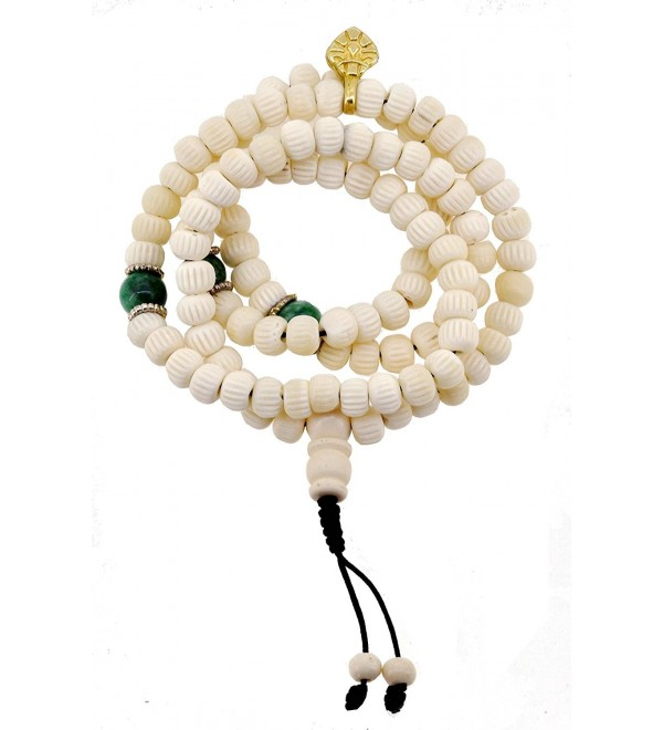 Tibetan 8mm Carved Yak Bone 108 Prayer Beads Mala Necklace - CZ11MU3JOOZ