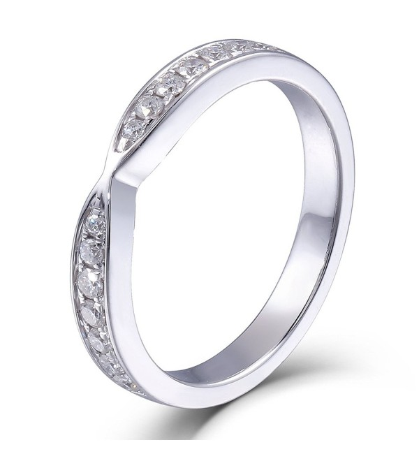 2.85MM Width Moissanite Diamond Half Eternity Anniversary Wedding Band Ring Platinum Plated Silver - CP1889D8O02