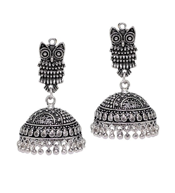 Jaipur Mart Indian Bollywood Oxidised Jhumka Earrings Silver Jewellery Gift - C6182RZO29L