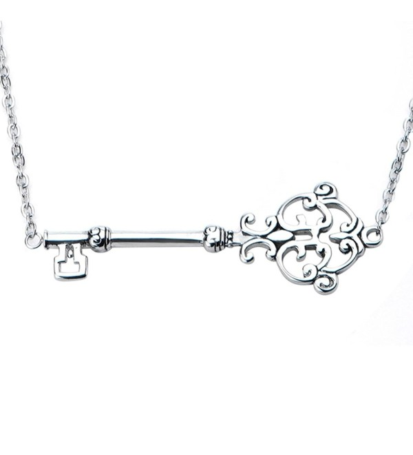 "Inox Jewelry Womens Stainless Steel Sideway Key Pendant 6"" Necklace (Metal) - CB11QSCJQTH"