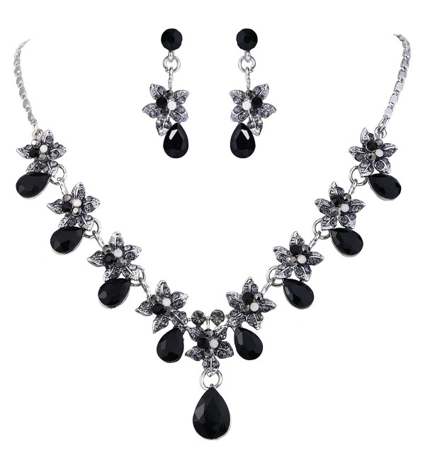 EVER FAITH Hibiscus Teardrop Austrian Crystal Necklace Earrings Set - Silver-Tone Black - C811N8MYQ0J
