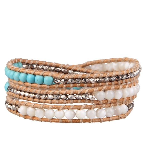 Kelitch Jewelry Created-Turquoise Mix Metal Nugget Leather Wrap Around Bracelet - Beige Leather - CS12G9SC46V