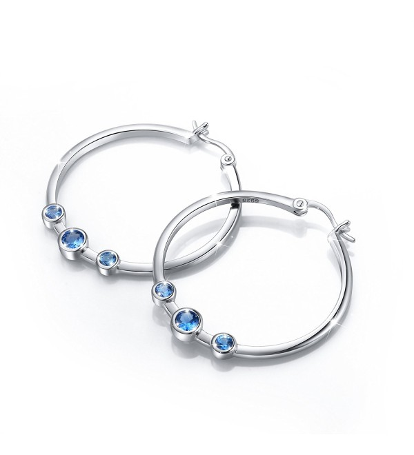 925 Sterling Silver Hypoallergenic Three Blue Cz Hoop Earrings For Women - CT184QCKLM5