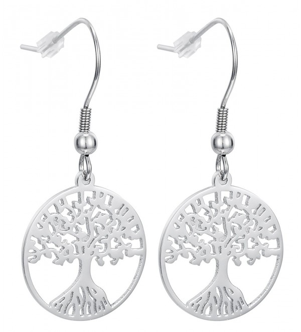 Tree of Life Dangle Earrings With Fishhook Backings- Stainless Steel - By Regetta Jewelry - CQ12G6AH5ID