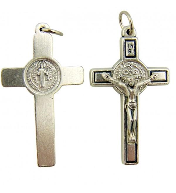 Silver Tone Saint St Benedict Cross Crucifix Pendant- 1 1/2 Inch - CE116OCUIST