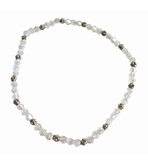 """Clear AB Crystal Beaded Stretch 9"""" Anklet (A61) - CI12NVFWP3D"""