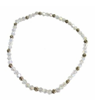 "Clear AB Crystal Beaded Stretch 9"" Anklet (A61) - CI12NVFWP3D"