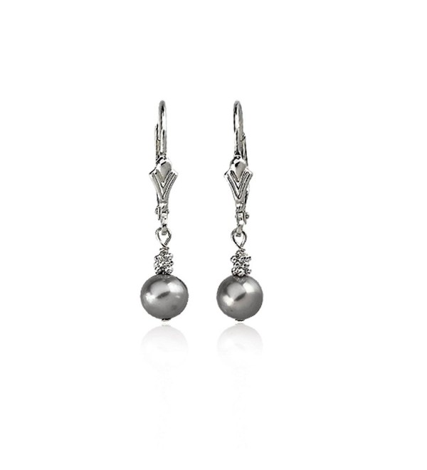 Sterling Silver And 5.0-6.0mm Gray Freshwater Cultured Pearl Lever Back Earrings - CP117VJYEU7