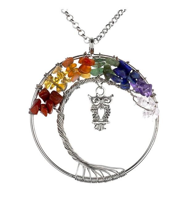 Vintage Necklace Gemstones Pendant Handmade - 7 Chakras Style - CT12MLW5YN9