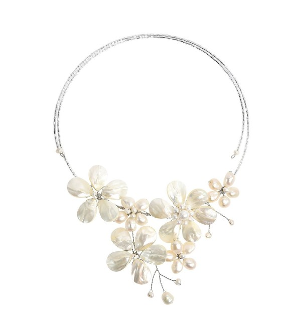 Floral Mother of Pearl & Cultured Freshwater White Pearl Cluster Choker Wrap Necklace - CJ11J1HHTSV