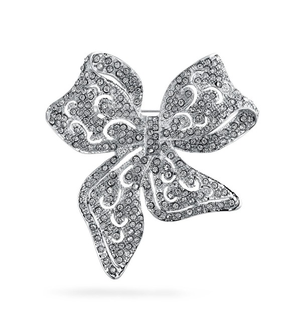 Bling Jewelry Crystal Vintage Style Bow Brooch Ribbon Pin Silver Plated - CM11B8X1D8N