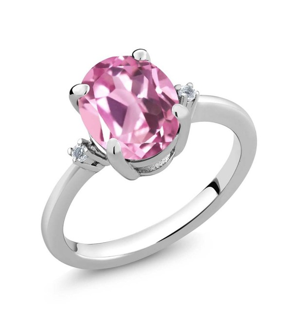 2.94 Ct Oval Light Pink Created Sapphire White Topaz 925 Sterling Silver Ring (Available in size 5- 6- 7- 8- 9) - CF11PH5YAFF