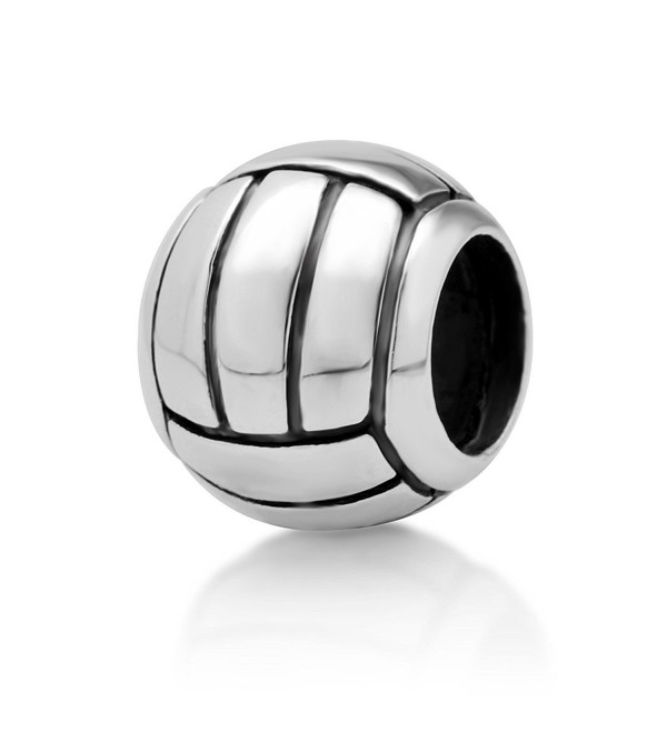 925 Sterling Silver Volleyball Bead Charm Fit Major Brand Bracelet - C911DM5O1OX