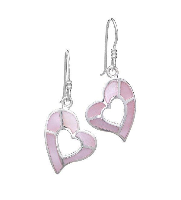 "925 Sterling Silver Mother Of Pearl Shell Heart Dangle Earrings 1.2"" - Nickel Free - Pink - CF11K4X67ZH"