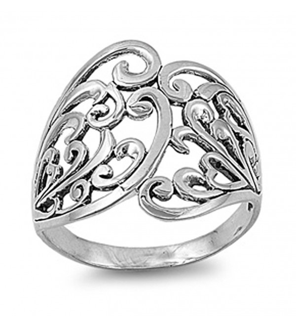 Sterling Silver Women's Celtic Fashion Ring Beautiful 925 Band 21mm Sizes 4-13 - CO11GQ40907