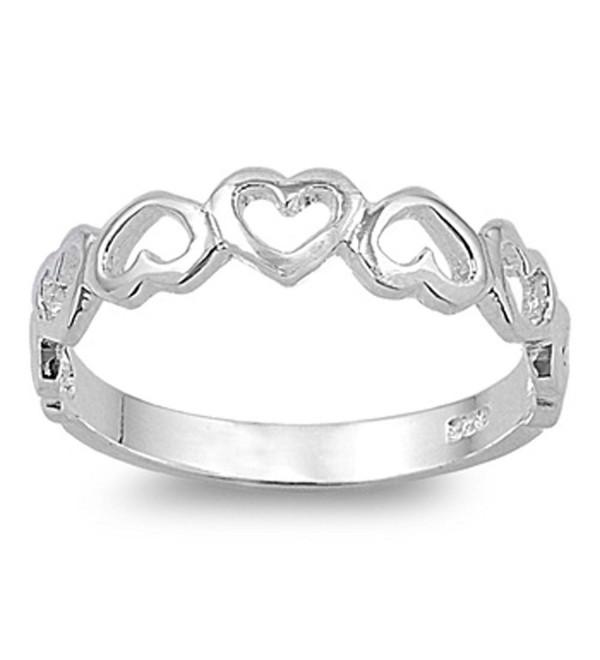 Plain Heart Band .925 Sterling Silver Ring SIZES 3-12 - CZ121DE54SV