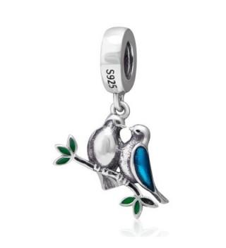 Love Birds Charm 925 Sterling Silver Animal Charm Husband Wife Couple Charm for Bracelets - C - CZ1855H0Z30
